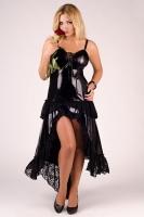 schwarzes langes Wetlook-Kleid