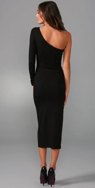 one-shoulder cocktailkleid knielang schwarz - fs fashion